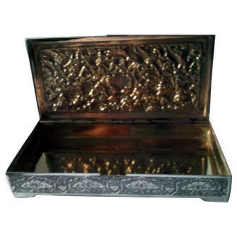 Persian Isfahan Solid Sterling Silver 84 Extremely Elaborate Large Treasure Chest, Cigar / Cigarette / Tobacco Case or Tea Box, circa 1900
