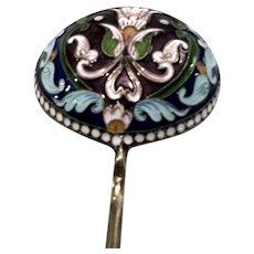 Russian Imperial Enamel Serving Spoon 73 grams Solid Sterling Silver 84 Cloisonné Champlevé Huge Flatware Flower Motif