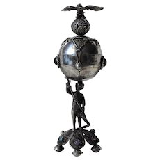 Russian Imperial Sterling Silver 84 Jewish Filigree Burning Essence Pot with Figurine, Eagle, Footed Base and Gem Stones Judaica