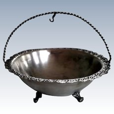 Russian Imperial Serving Basket or Footed Sugar Bowl or Candy Dish Sterling Silver 84 with Swing Handle 19th Century Antique