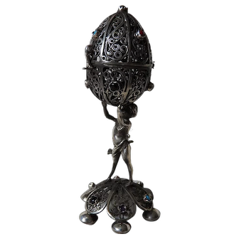 Russian Imperial Sterling Silver 84 Filigree Egg with Sculpture, Lion of Zion, Open Work Footed Base and Decorated with Gem Stones