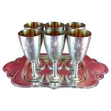Russian 6 Goblets Set Solid Sterling Silver 875 Engraved Cups or Footed Shot Glasses Vintage USSR