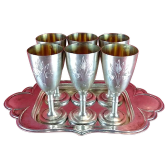 Russian 6 Goblets Set Solid Sterling Silver 875 Engraved Cups or Footed Shot Glasses Vintage USSR
