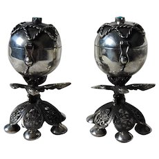 Russian Imperial Sterling Silver 84 Jewish Burning Essence Set of 2 Pots with  Eagle, Star of David, Filigree Footed Base and Turquoise Judaica