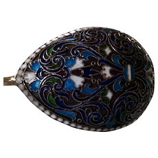Gustav Klingert Enamel Serving Spoon 78 grams Russian Antique Imperial Solid Sterling Silver 84 Cloisonné Champlevé