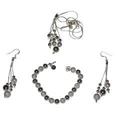 Modern Jewelry Set Silver 925: Pendant; Bracelet, Earrings and Chain
