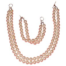 Large 10 mm Diameter Pink Pearls Simulated Made from Shells: Necklace and Bracelet