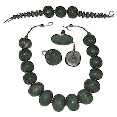 Free Shape Guatemala Raw Green Jade Massive 4 pc. Jewelry Set with Sterling Silver