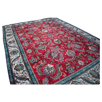 Mint Condition 9.6x12.11 Hunting Tabriz Persian Area Rug