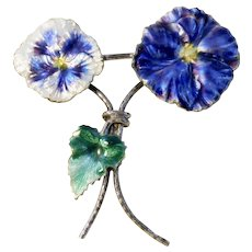 Victorian Enamel and Sterling Pansy Brooch