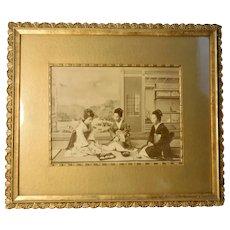 Meiji Era Photo of Geishas in Ornate Period Frame