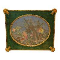 19th & 20th Century Framed Fabric and Paper Decoupage Fantasy Jungle Scene