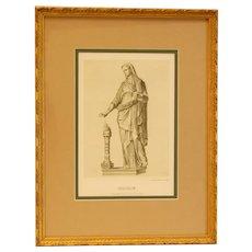 "19th Century German Print ""Vestalin"" in Gold Frame by Anst v E. Hochdanz 1"