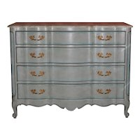 Louis XV Style Chest in Blue Painted Finish w/ Faux Marble Top, 1940s