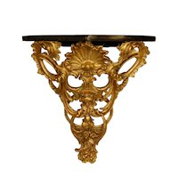 Victorian Gilt Carved Wood Wall Console w/ Faux Marble Top, 1859
