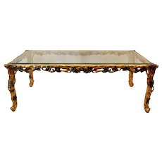 Italian Gold Leaf Carved Wood Rectangular Coffee Table w/ Bevelled Glass Top