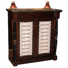 Regency Style Rosewood Console Cabinet with Green Marble-Top