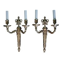 Pair of Gilt Finished Two-Arm Louis XVI Style Wall Sconces, circa 1880