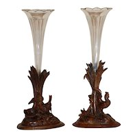 Pair 19th Century Swiss Carved Walnut Black Forest Vases or Epergnes circa 1870