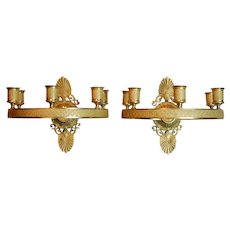 Pair Mid-19th Century Gilt Brass Charles X Period French Empire Style Ring Form Sconces
