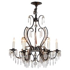 Iron and Crystal Six-Light Chandelier, circa 1920's