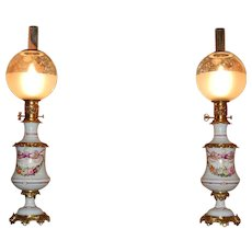 Pair of Porcelain Hand-Painted Floral French Oil Lamps, circa 1850, All Original