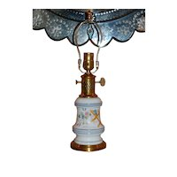 Floral Decorated French Porcelain Oil Lamp circa Late 19th Century, Wired