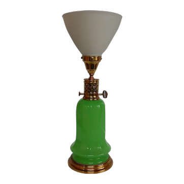 Green Glass Oil Lamp Mid 20th Century