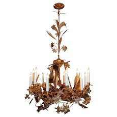 Gilt Brass Chandelier w/ Clusters of Brass Grapes, Leaves and Sheaths of Wheat