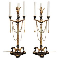 Pair of English Renaissance Revival Style Three-Light Candelabra on Tripod Base