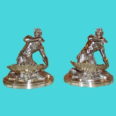 Pair Silver Plated Candy/ Nut Bowls Depicting a Neptune God-Like Mermaid Figure Circa 1875
