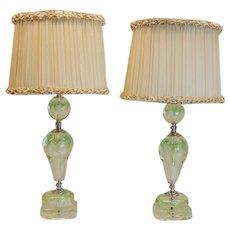 Pair Art Deco Period Lamps w/ Art Glass Floral Balls & Silk Lampshades