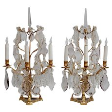 Pair of Early 19th Century Gold Dore Bronze Three-Light Girandoles
