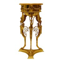 19th Century Copy of Roman Brazier in Gold Vermiel Finish with Marble Top