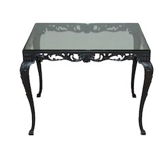 Fancy Cast Iron Rectangular Table Base with Glass Top, circa 1930s