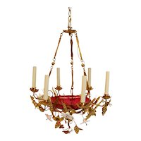 French Chandelier w/ Glass Lilies & Stamped Brass Decorations, circa 1855
