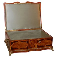 19th Century Mahogany Dresser Box w/ Silk Lining and Parquetry