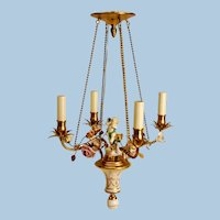 French Gilt Metal Chandelier with Hand-Painted Flowers, Early 20th Century