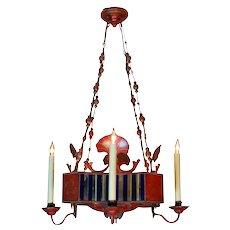 French Red Painted & Decorated Tole Chandelier with Mirrored Panels, circa 1900