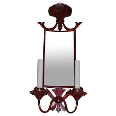 PAIR of French Red Painted & Decorated Tole Sconces with Mirrored Panels