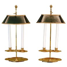 """Pair of 19th Century Bouillotte Candle Lamps Stamped """"Baguès"""" in Gold Finish"""
