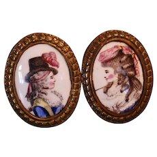 Late 18th Century Pair of English Battersea Enameled Tiebacks