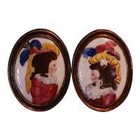 Pair of Antique English Battersea or Bilston Enamel Curtain Tie Backs, circa 1790