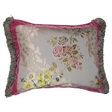 Throw Pillow in French Silk Brocade with Loop Fringe & Velvet Ribbon Trimming