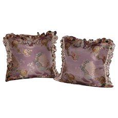 Pair of Pillows Made w/ French Silk Brocade and Scalamandre Brand Silk Tassel Trimming