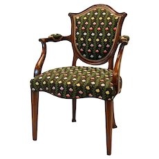 Hepplewhite Style Mahogany Armchair Covered in Silk Brocade