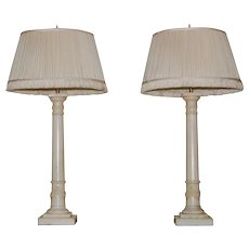 Pair of White Carved Marble Neoclassical Style Column Lamps