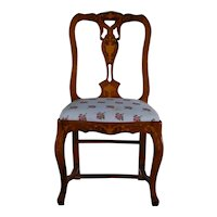 Continental Fruitwood Inlaid Side Chair, circa 1890