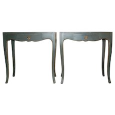 Pair of Custom Made Side Tables in Green Paint with Drawers