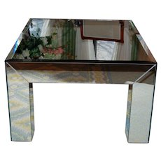 1980's Vintage Beveled Mirrored Glass Coffee Table